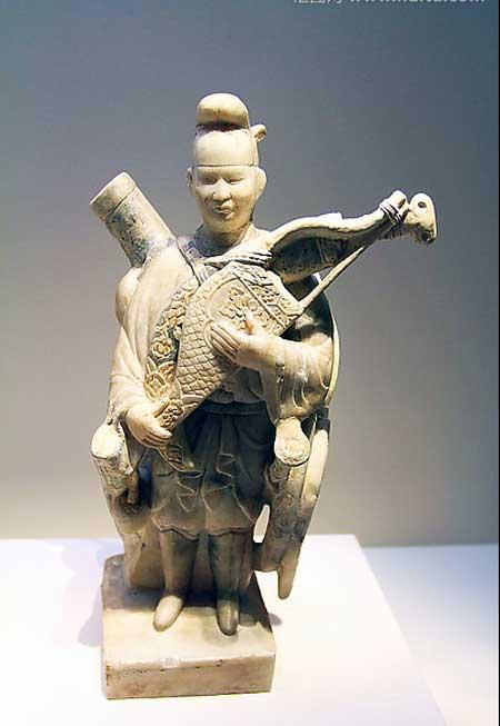 描金石雕武士俑